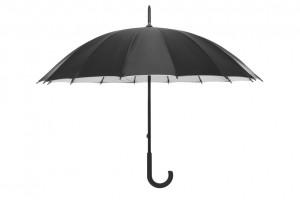 Schwarzer Regenschirm - Wir schützen Sie