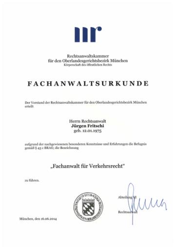 Fachanwaltsurkunde für Jürgen Fritschi - Fachanwalt für Verkehrsrecht
