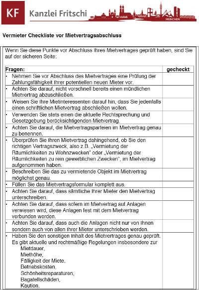Kanzlei Fritschi München - Checkliste vor Mietvertragsabschluss für Vermieter