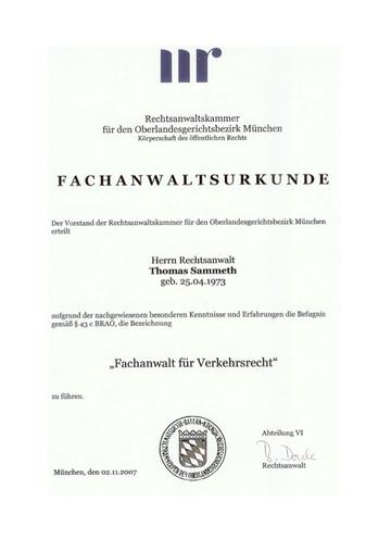 Bestätigung - Fachanwalt für Verkehrsrecht - Thomas Sammeth